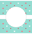 Blue template card with red and white hearts vector image