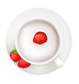 cup with milk and strawberry vector image vector image