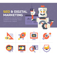 SEO Digital Marketing Icons vector image vector image