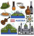 austria tourism travel landmarks and famous vector image