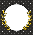 Frame with laurel wreath and white polka dots vector image
