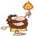 Happy caveman holding up a fiery torch vector image