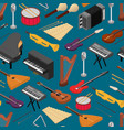 music instruments background pattern isometric vector image