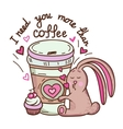 rabbit and coffee vector image