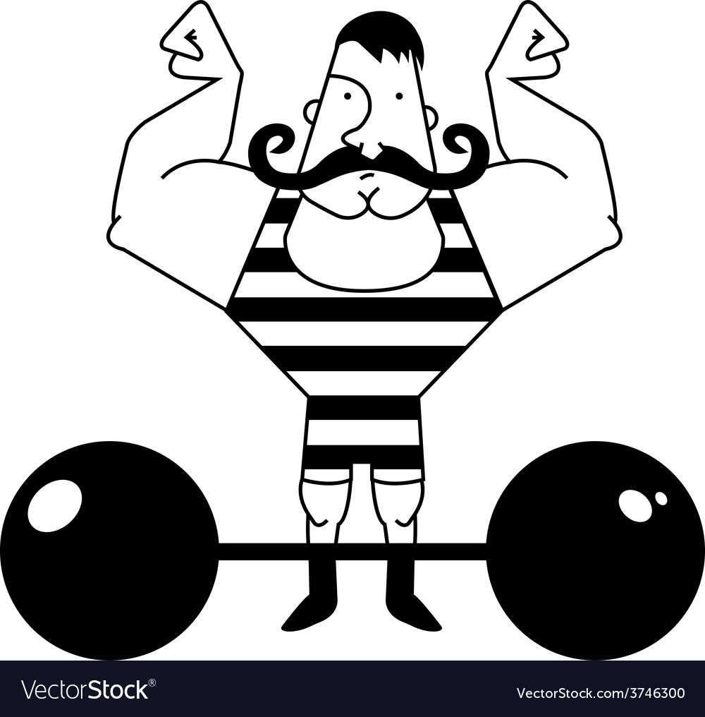 Circus athlete with barbell contour vector