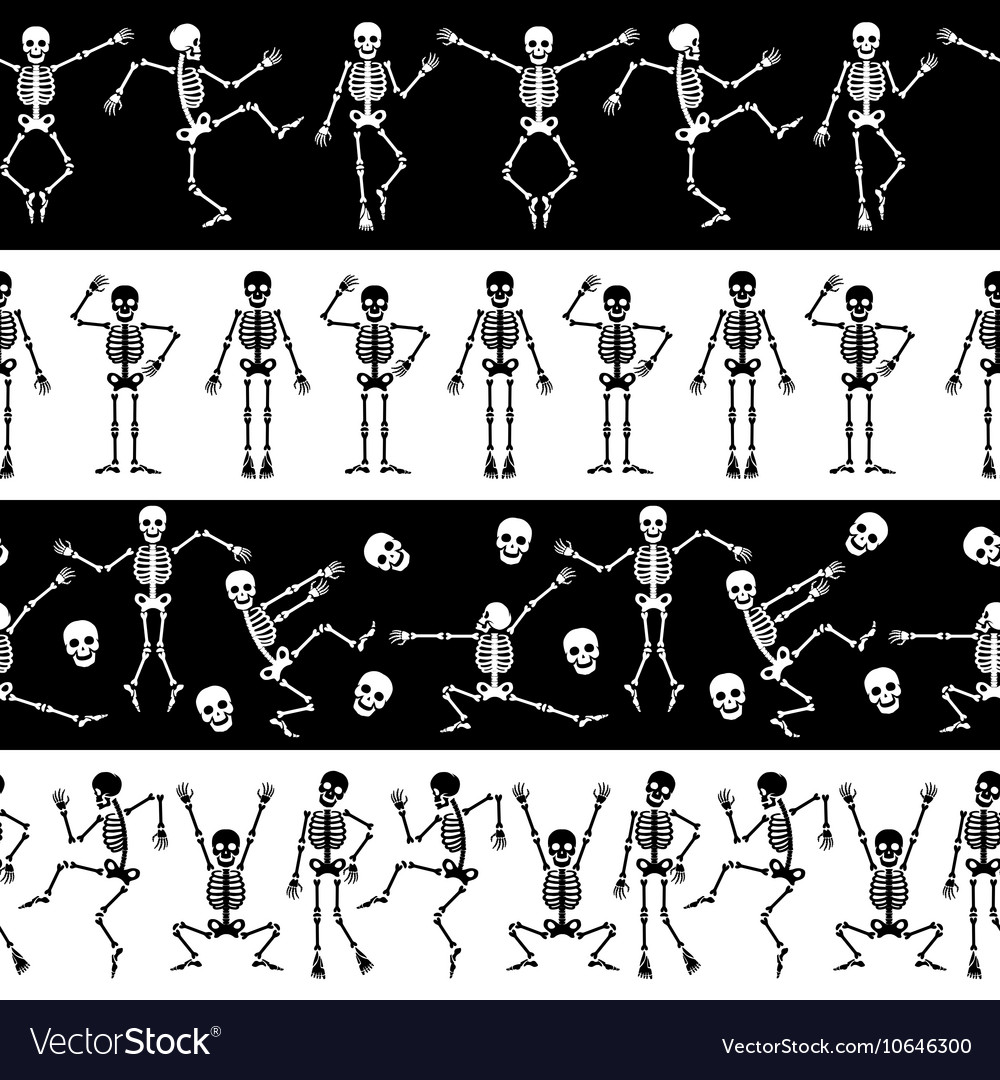 Dansing skeletons horizontal pattern vector