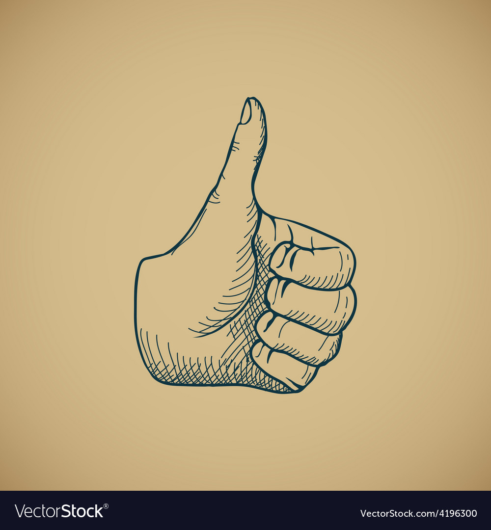 Hand draw sketch vintage thumbs up vector