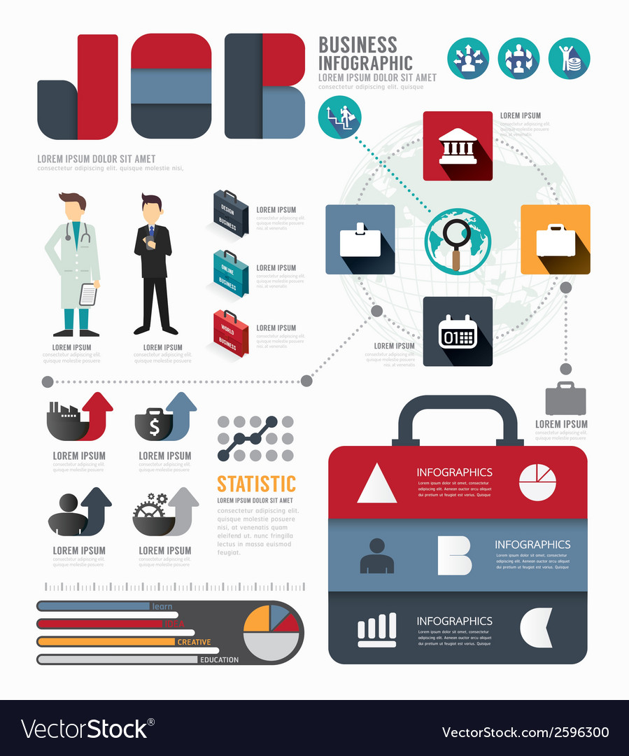 Infographic businessworld job template vector