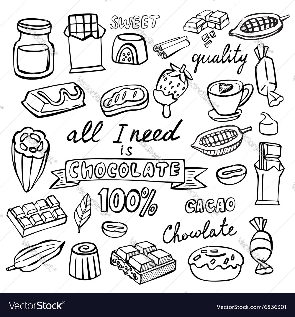 Cocoa and chocolate icon vector