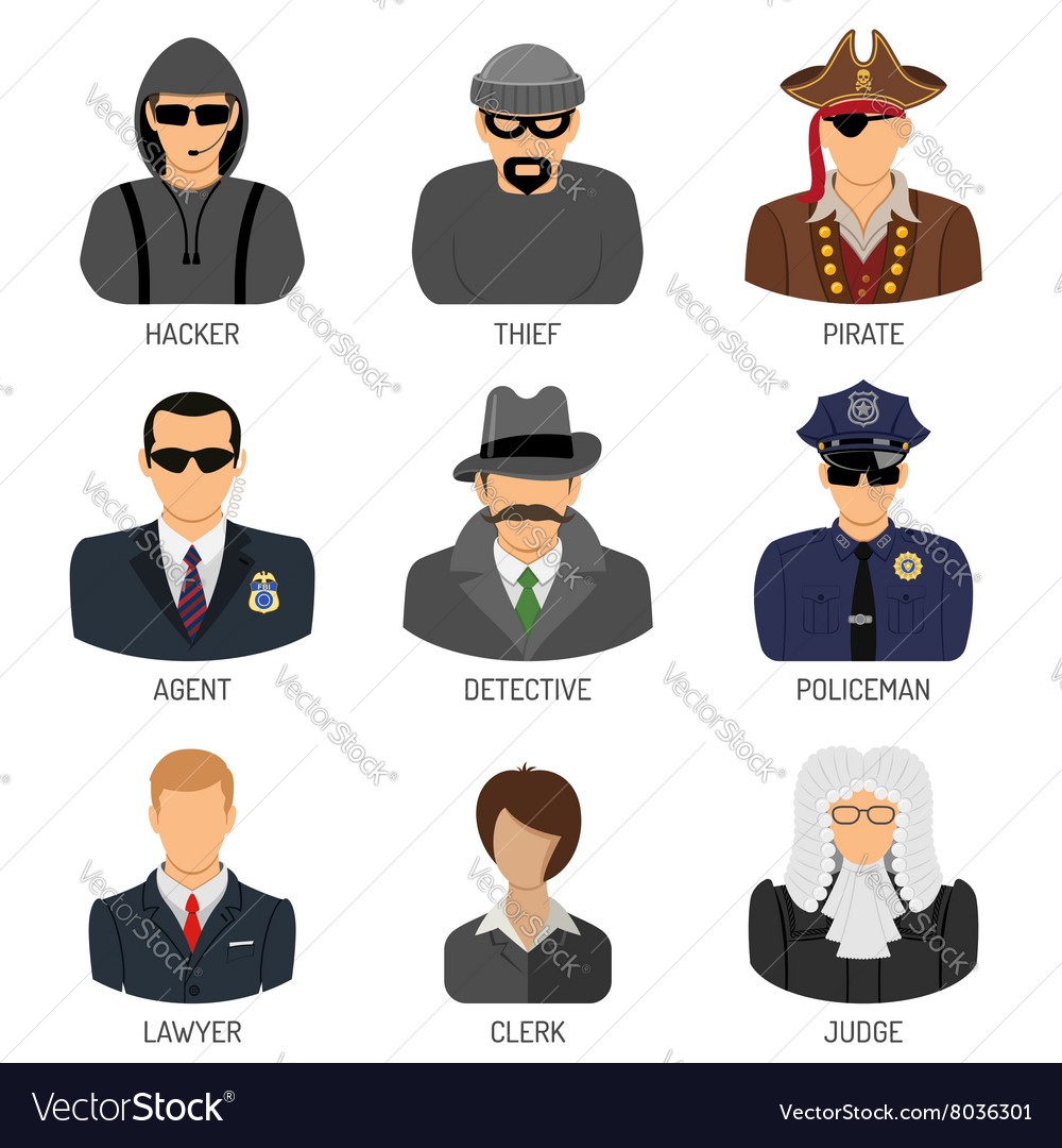 Set characters of criminals and law enforcers vector