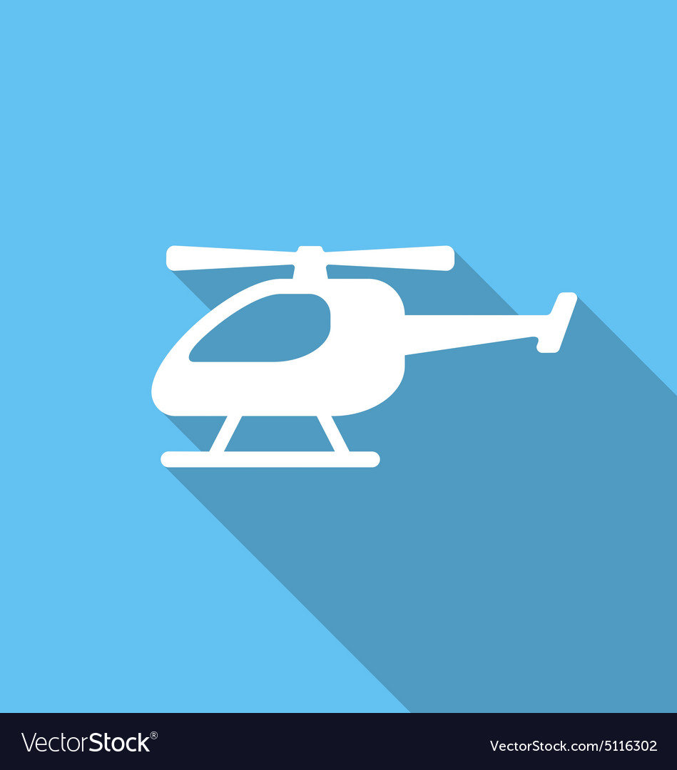 Flat icon of helicopter vector
