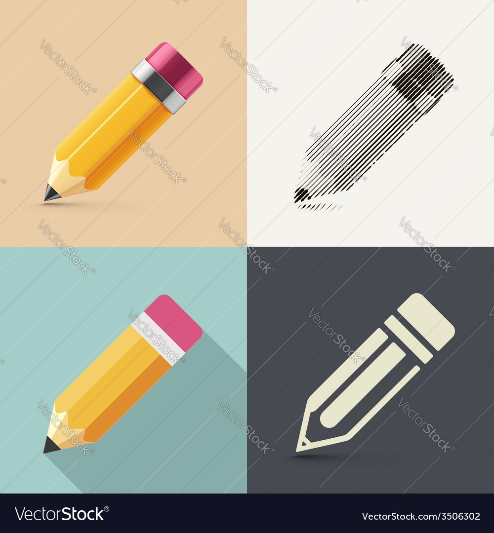 Isolated pencil vector