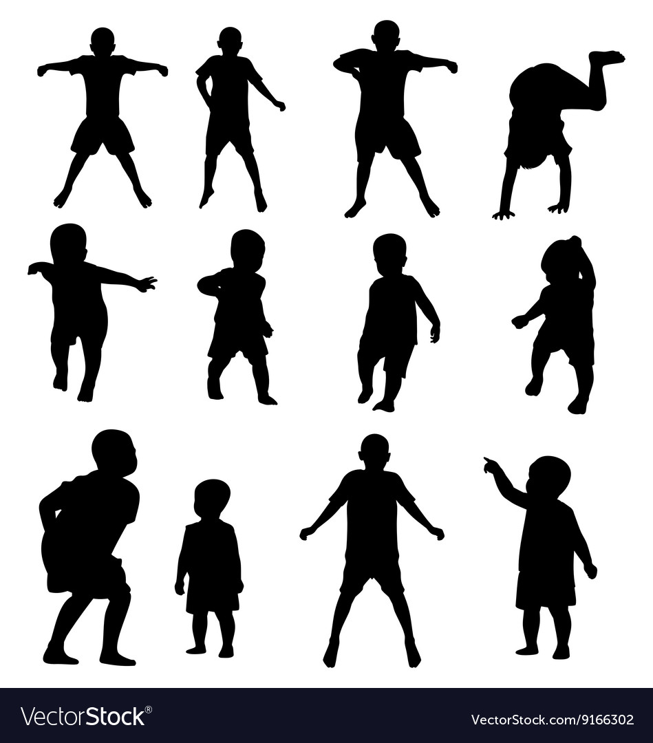 Kids silhouette set vector