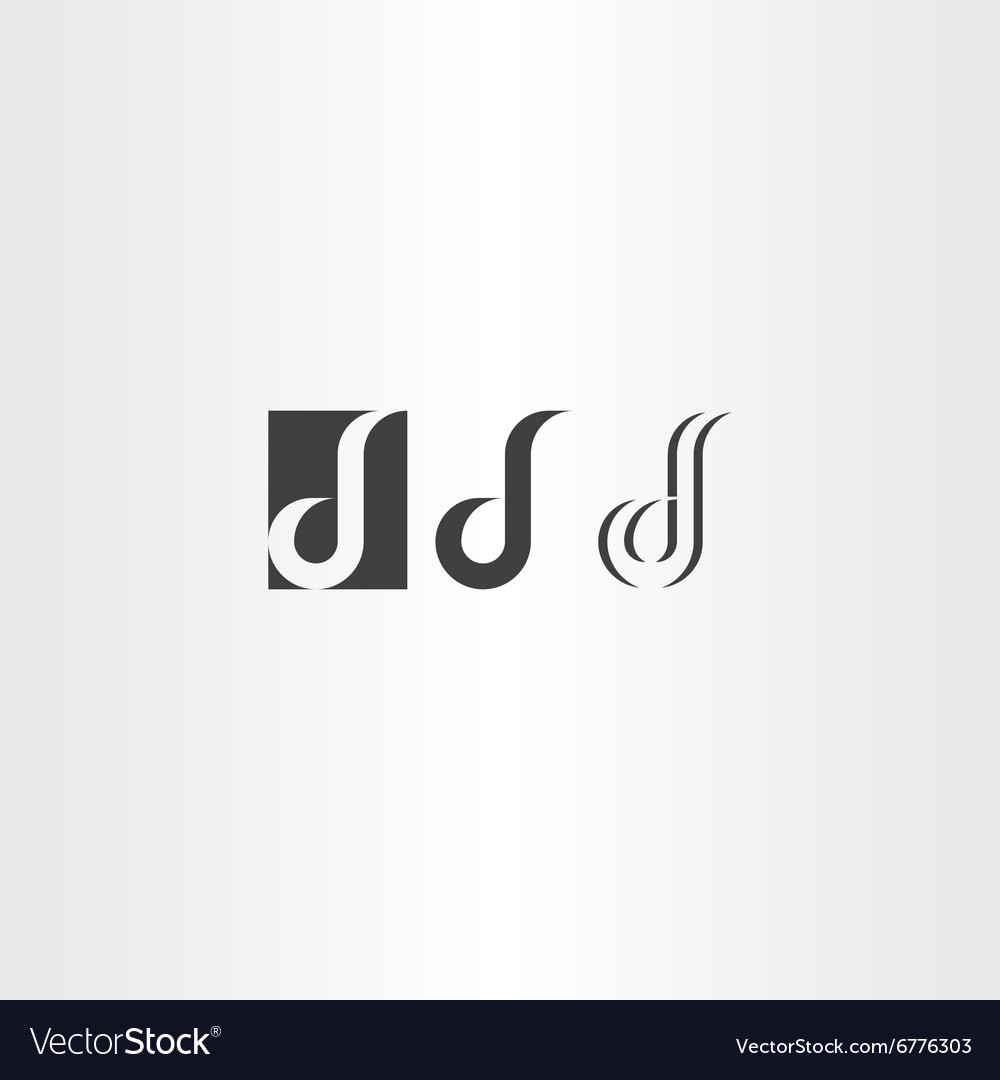 Letter d black logo icon set vector