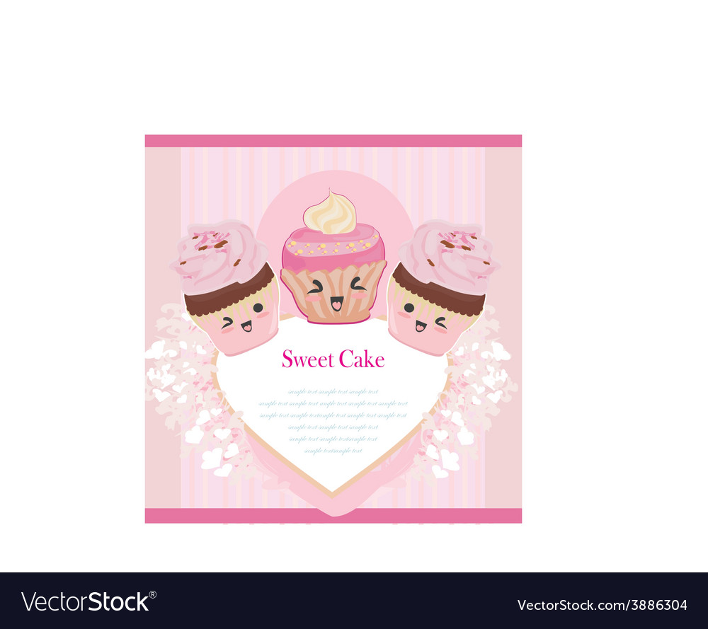 Cute cupcakes card vector