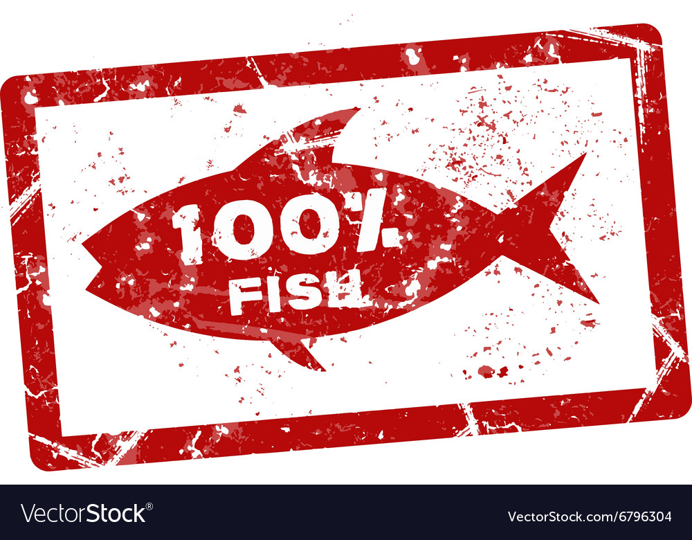 Fish grunge stamp vector