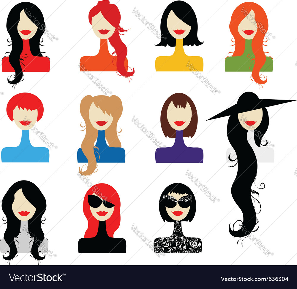 Woman fashion icons vector
