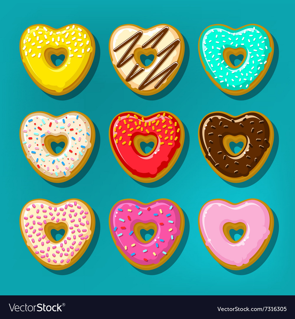 Different donuts in shape of heart vector