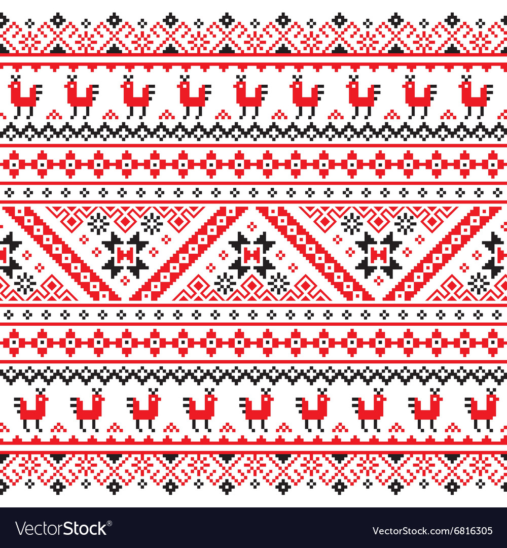 Ukrainian belarusian red and black embroidery vector