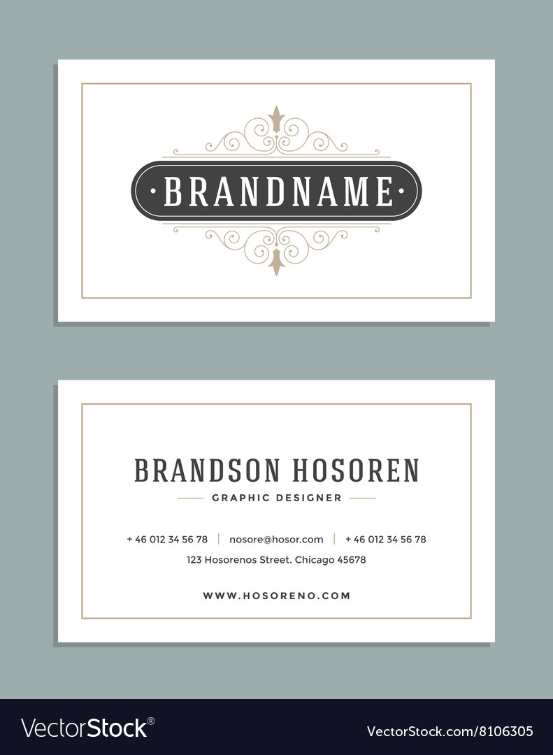 Vintage ornament business card template vector