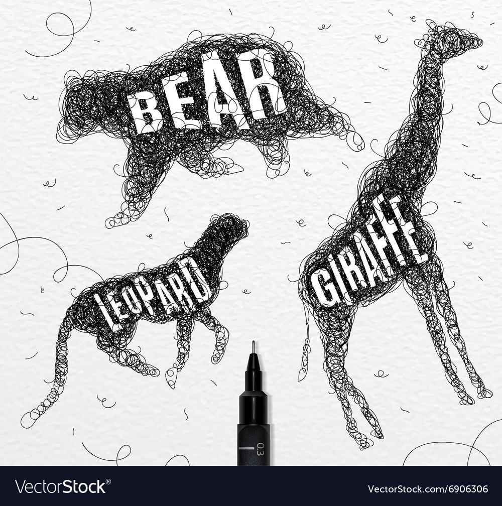 Tangled line bear black vector