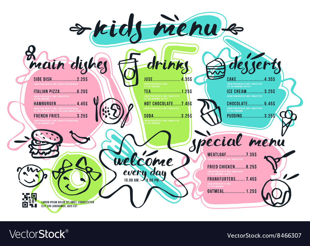 Kids menu template with lettering and badges vector