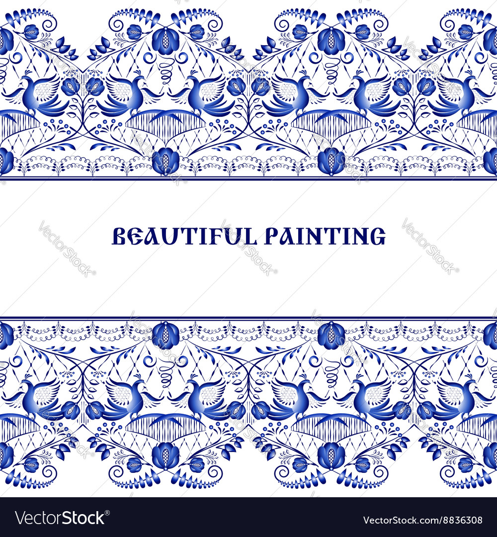 Gzhel style background border pattern of chinese vector
