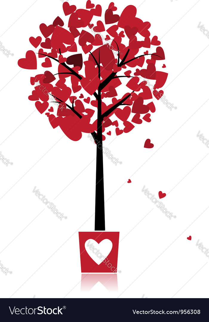 Tree of love in pot for your design vector