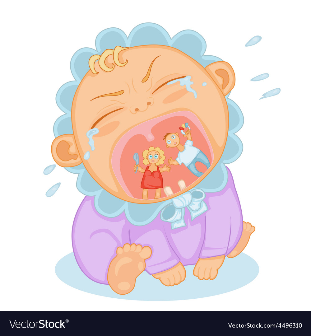 Cute baby crying vector