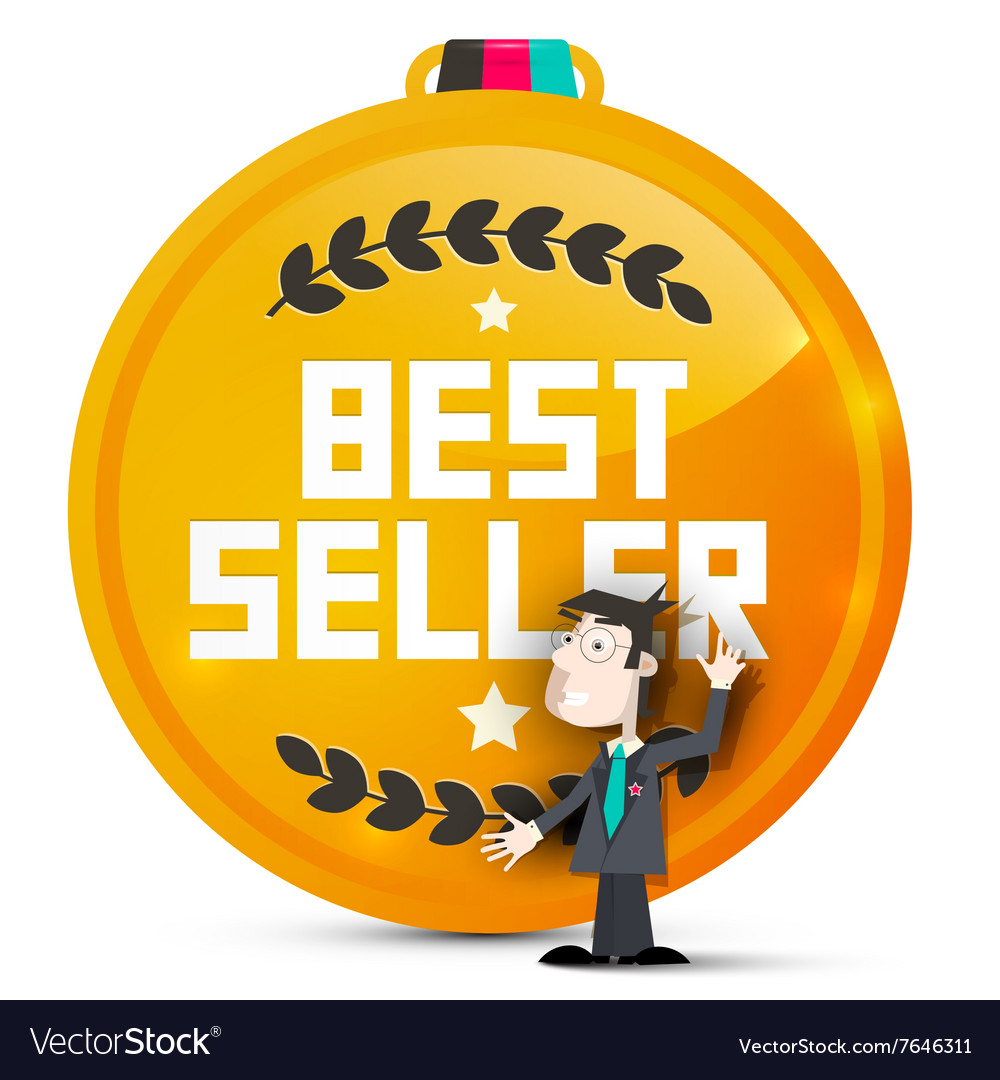 Best seller gold medal with business man isolated vector