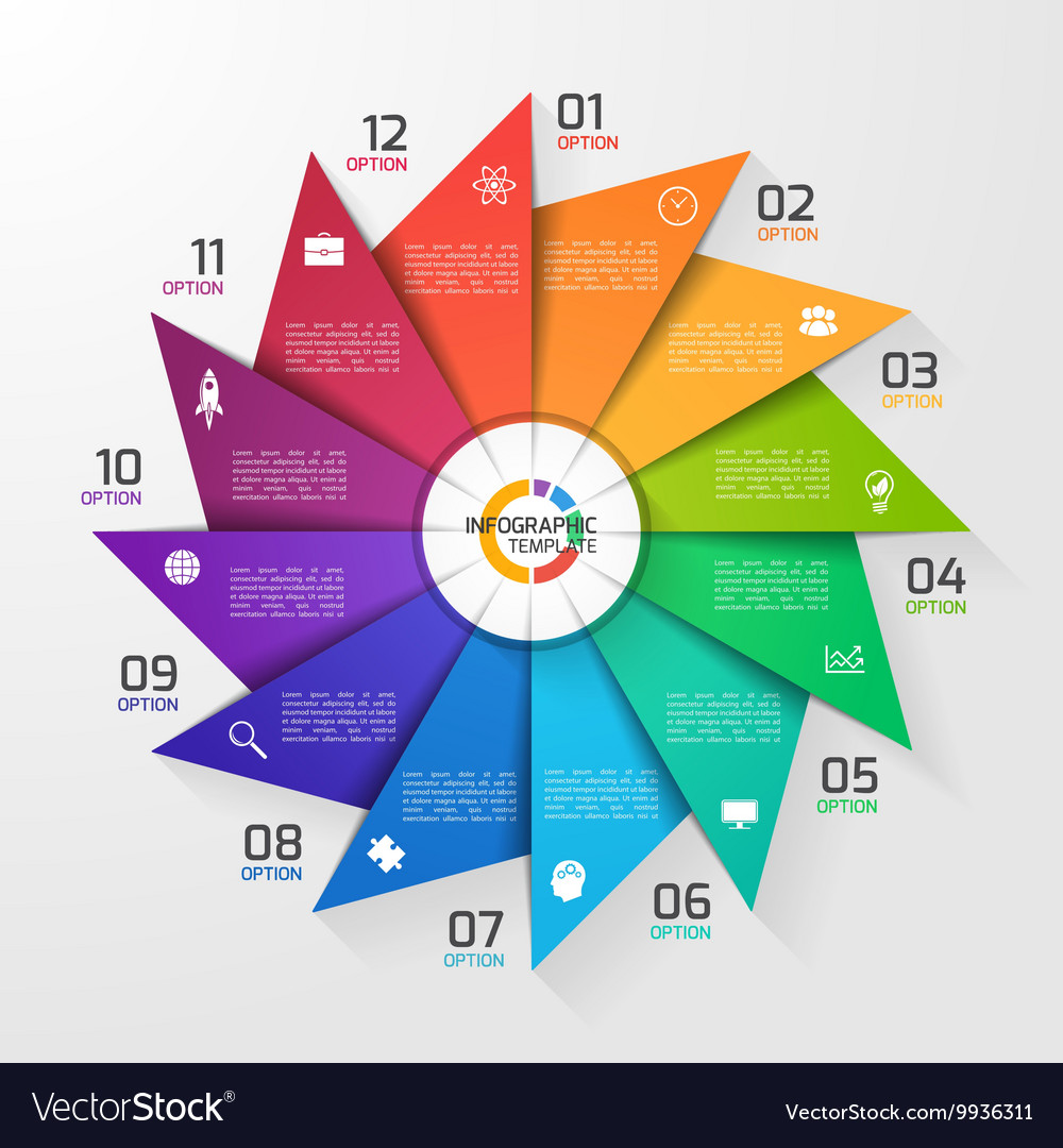 Windmill style infographic template 12 options vector