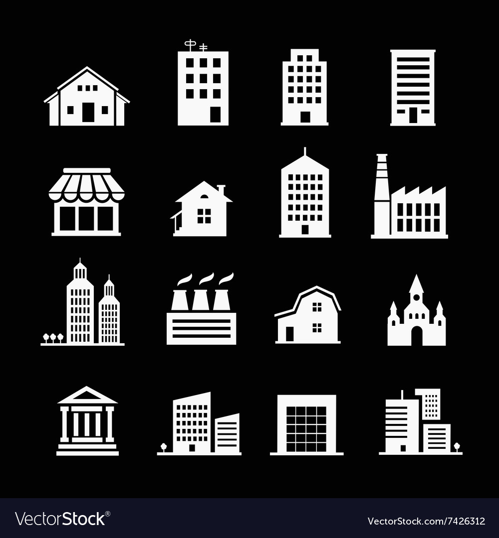 Set of various buildings white on dark vector