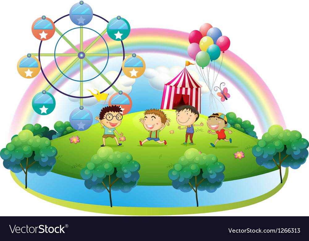 Four boys dancing in front of the carnival vector