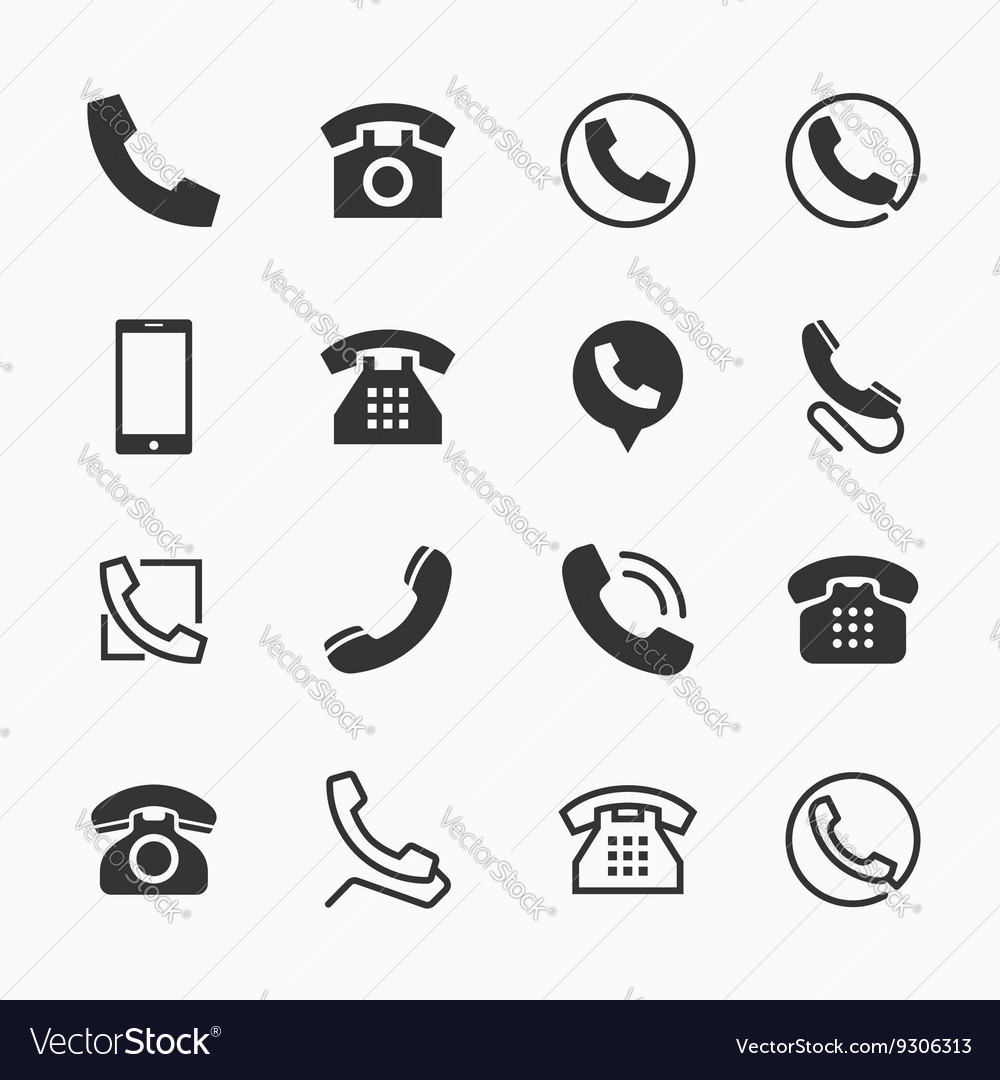 Phone icons set of 16 telephone symbols vector