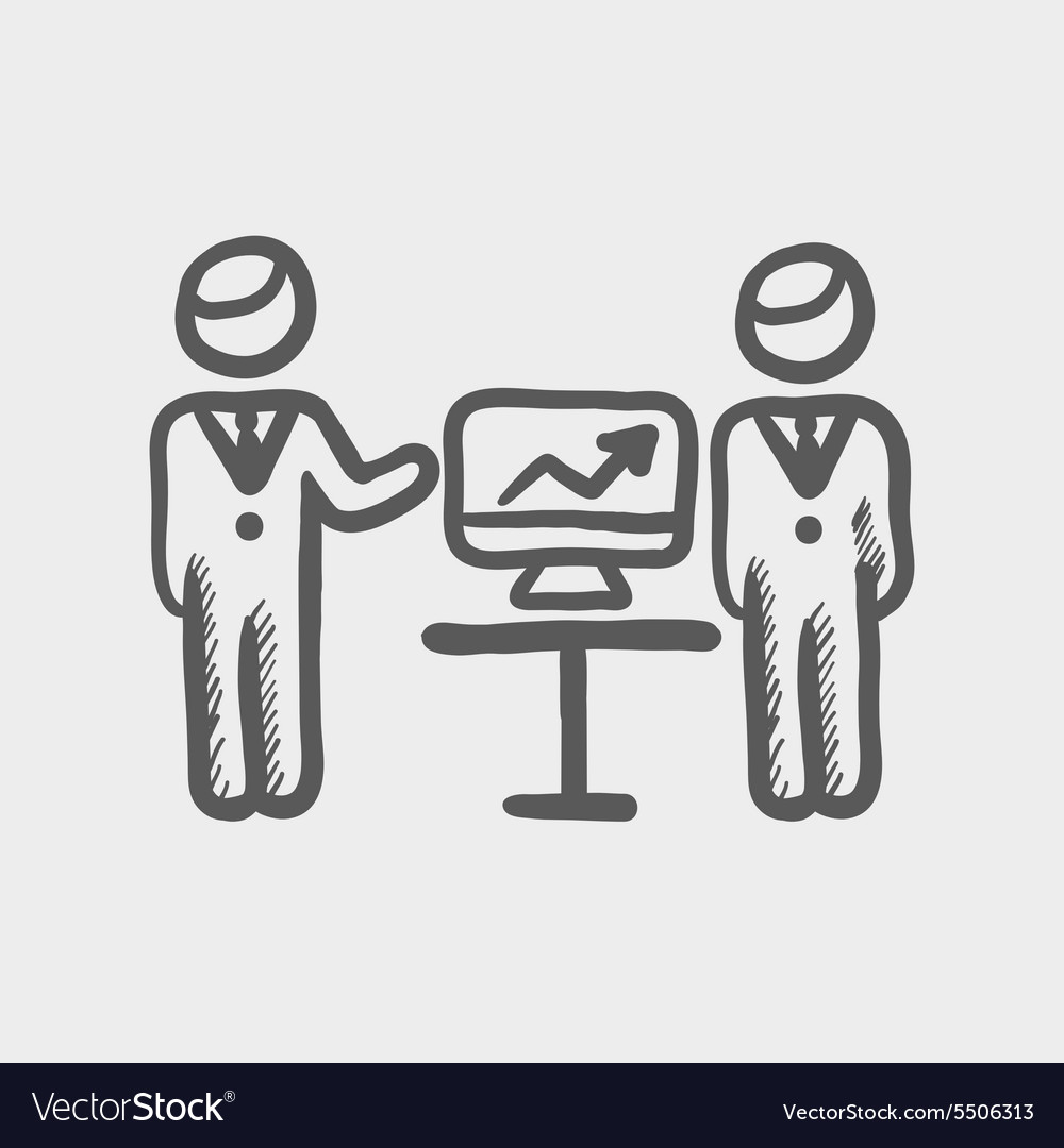 Two men and their business report vector