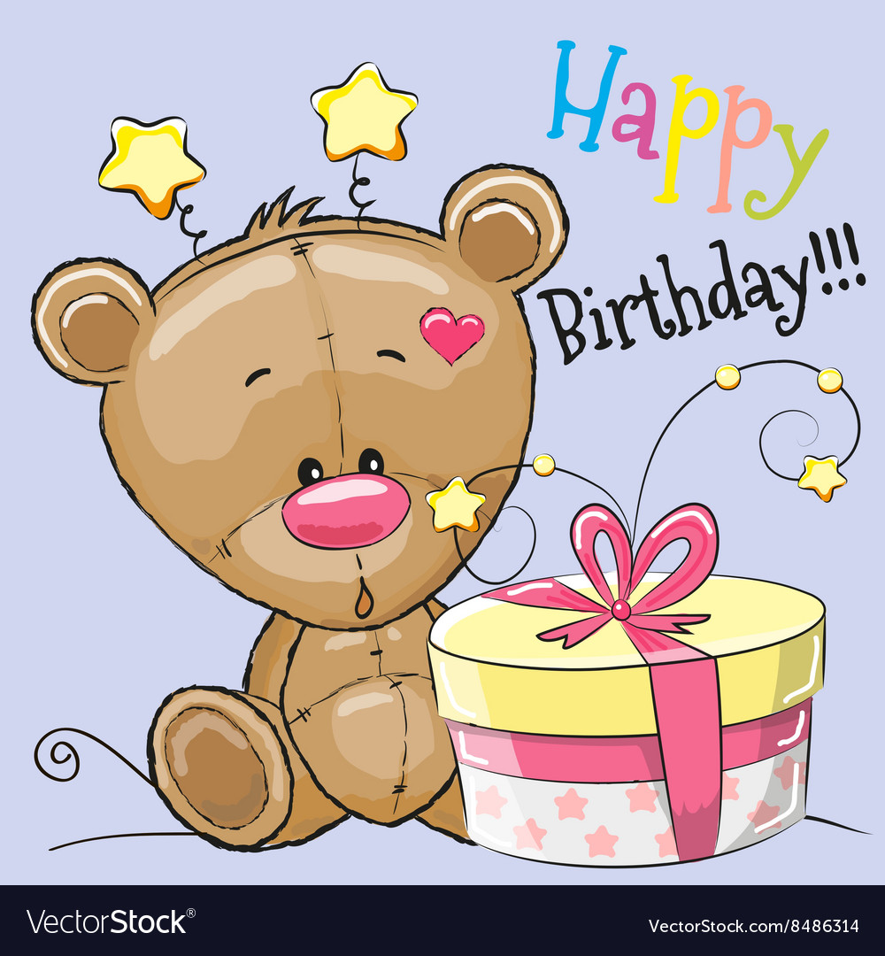 Bear with gift vector