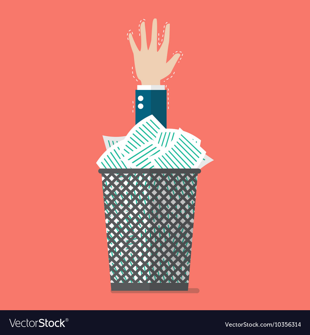 Businessman under a lot of documents in the trash vector