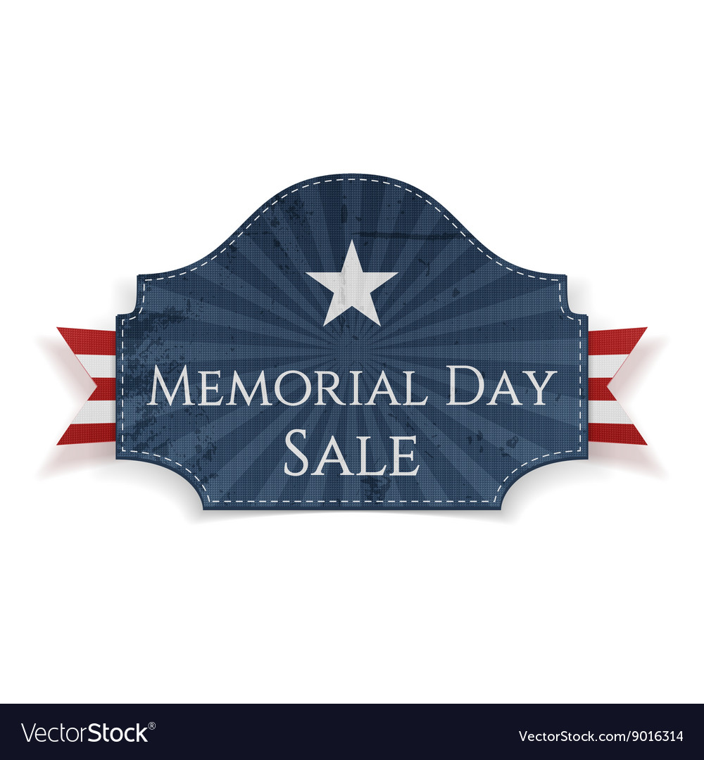 Memorial day sale textile poster and ribbon vector