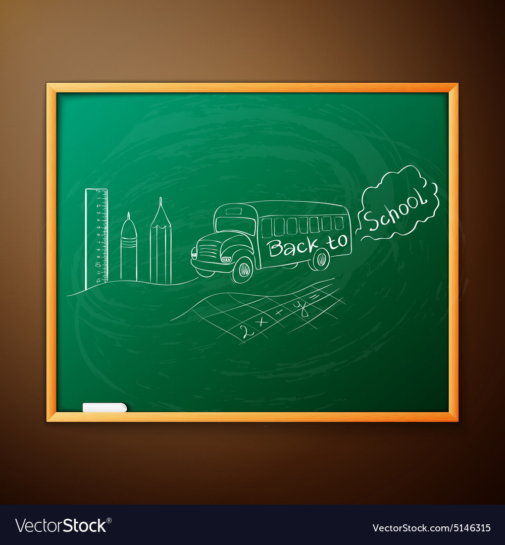 Back to school written on blackboard vector