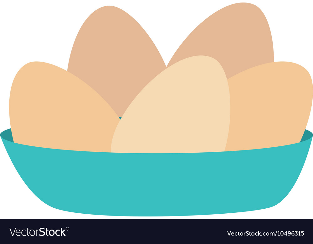 Icon eggs bowl cooking isolated vector