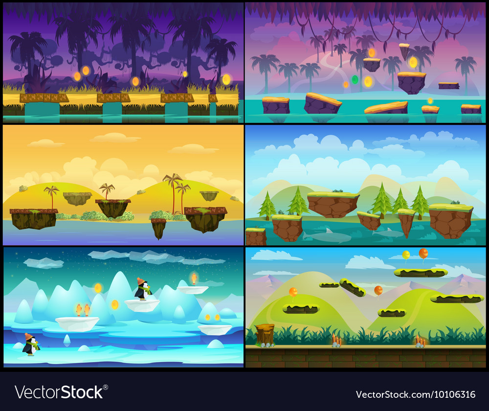 Game background seamless set vector