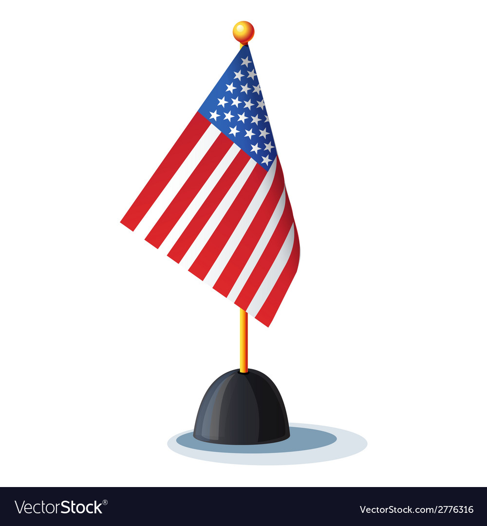 Image of the american flag on the stand vector