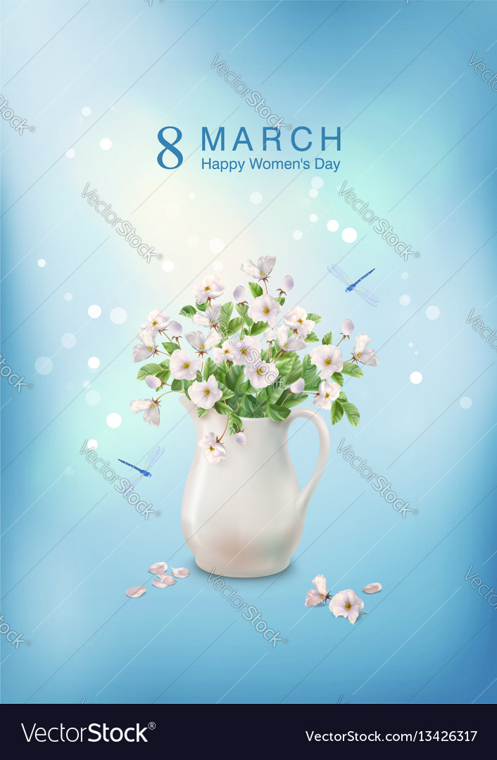 Flowers in ceramic jug vector