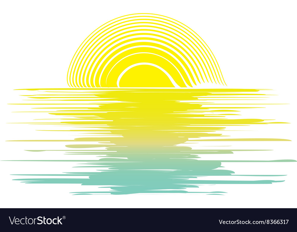 Icon sunset in the sea vector