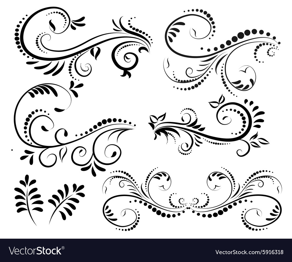 Swirl elements for design vector