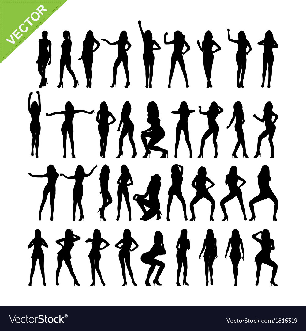 Sexy women and dancing silhouettes vector