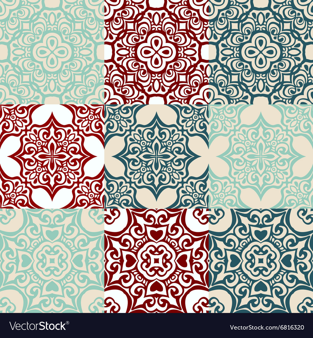 Set of seamless vintage ornametal pattern vector