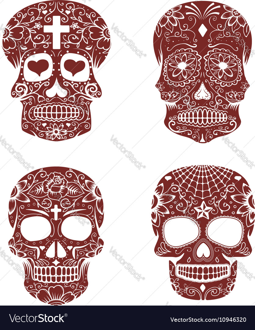 Set of sugar skulls isolated on white background vector