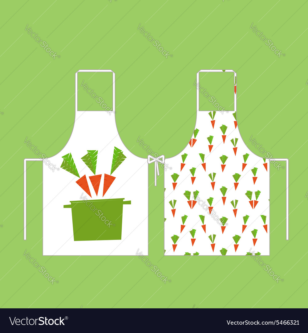 Aprons in the pattern of carrots with a pan vector