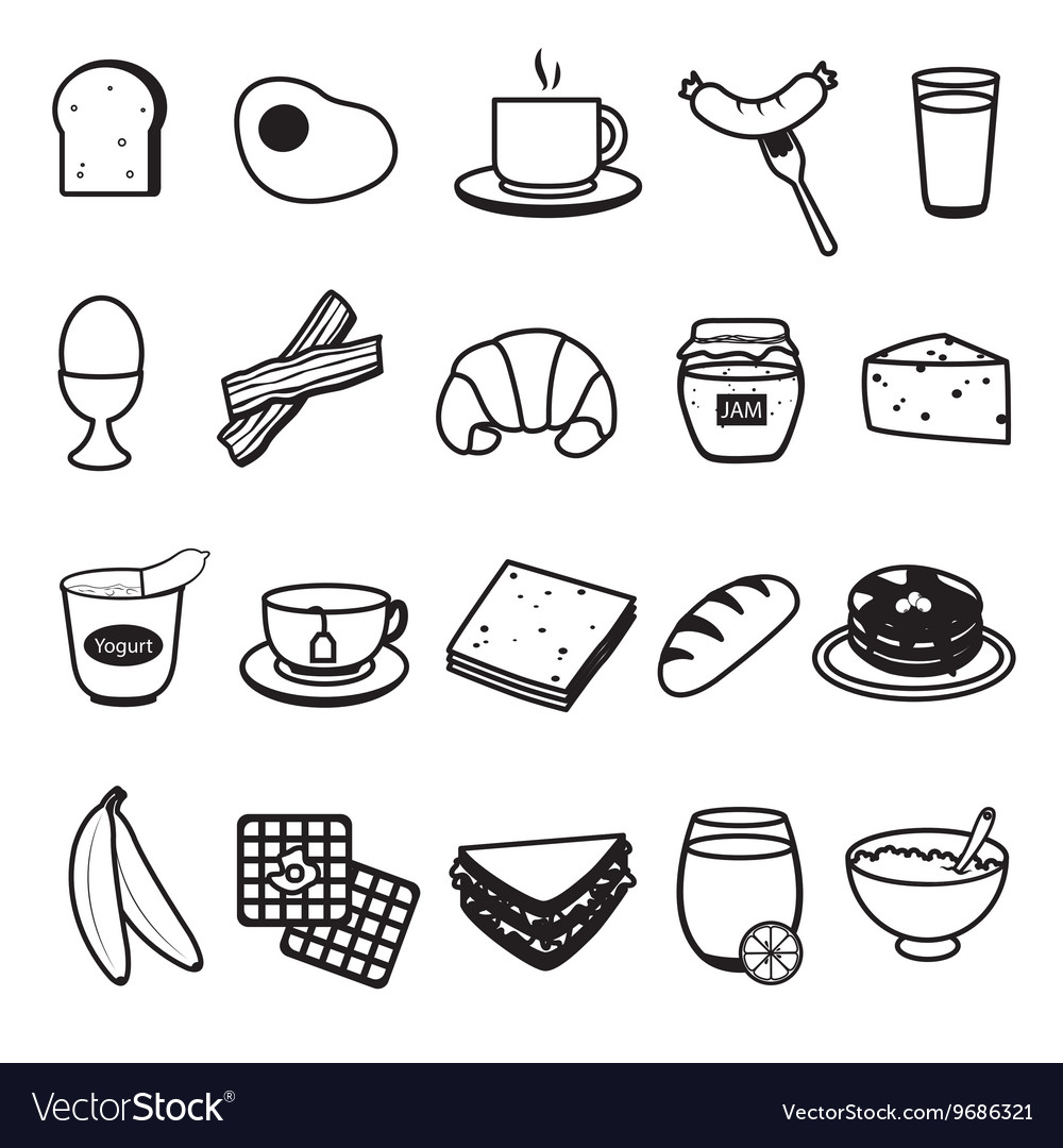 Basic breakfast icons set vector